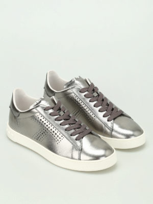 Tod'S: trainers online - Metallic leather sneakers
