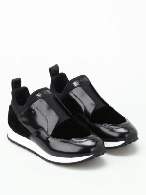 Tod'S: trainers online - Multi fabric slip on black sneakers
