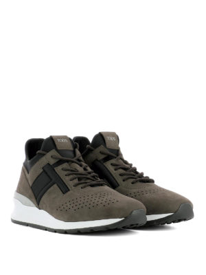 Tod'S: trainers online - Nubuck and neoprene brown sneakers
