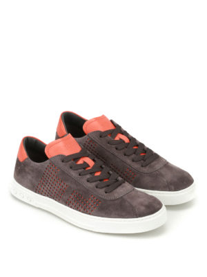 Tod'S: trainers online - Orange drilled sides suede sneakers