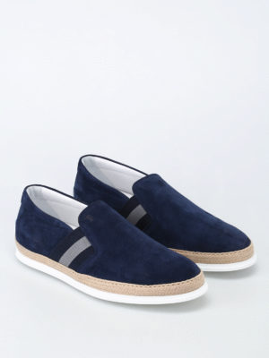 Tod'S: trainers online - Raffia trimmed blue suede slip-ons