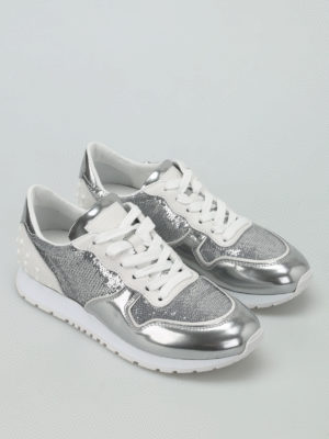 Tod'S: trainers online - Sequined metallic leather sneakers
