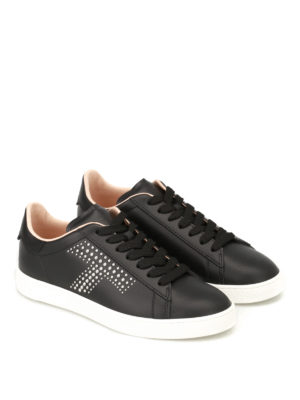 Tod'S: trainers online - Silver stud logo leather sneakers