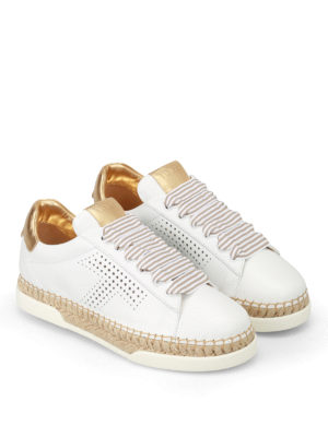 Tod'S: trainers online - Striped lace leather sneakers