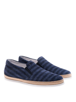 Tod'S: trainers online - Striped suede slip-ons