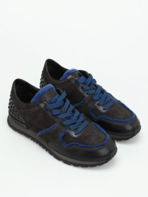 Tod'S: trainers online - Suede leather shearling sneakers