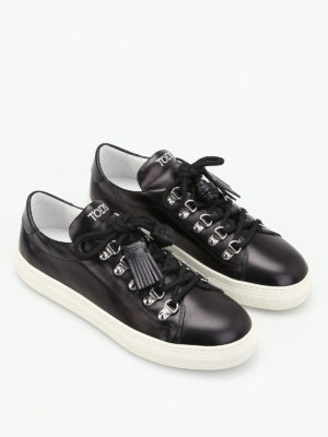Tod'S: trainers online - Tassel detail leather sneakers
