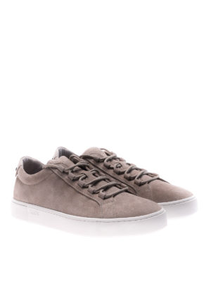 Tod'S: trainers online - Taupe suede lace-up sneakers