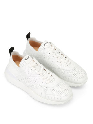 Tod'S: trainers online - White drilled leather sneakers
