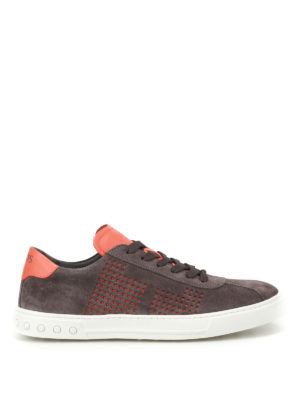 Tod'S: trainers - Orange drilled sides suede sneakers