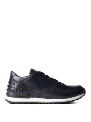 Tod'S: trainers - Pebble detail blue leather sneakers