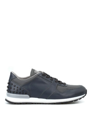 TOD'S: sneakers - Sneaker pelle e tessuto con gommini