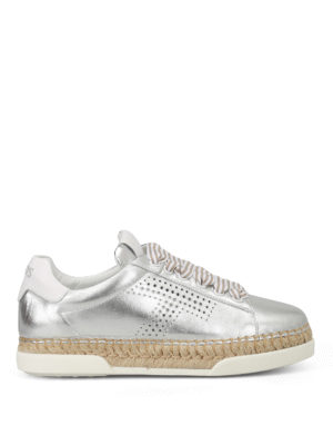 Tod'S: trainers - Perforated T silver sneakers