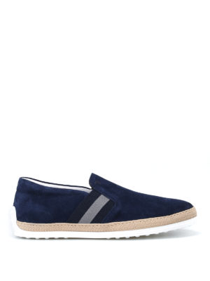 Tod'S: trainers - Raffia trimmed blue suede slip-ons