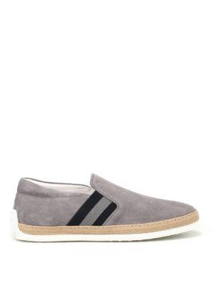 TOD'S: sneakers - Slip-on in suede grigio con rafia