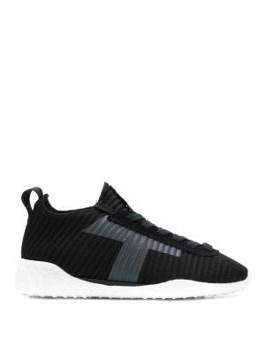 TOD'S: sneakers - Sneakers in maglia a coste con T applicata