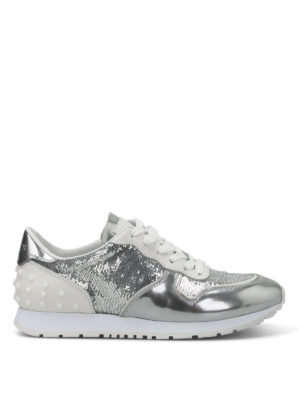 Tod'S: trainers - Sequined metallic leather sneakers