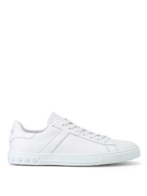 TOD'S: sneakers - Sneaker in pelle bianca con T ai lati