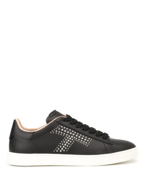 Tod'S: trainers - Silver stud logo leather sneakers