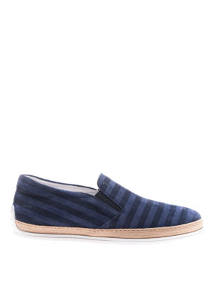 Tod'S: trainers - Striped suede slip-ons