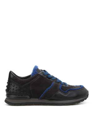 Tod'S: trainers - Suede leather shearling sneakers