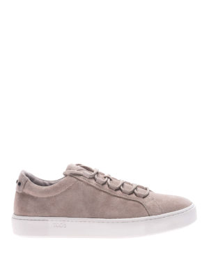 Tod'S: trainers - Taupe suede lace-up sneakers