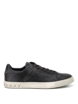 TOD'S: sneakers - Sneaker basse in pelle vintage effetto usato