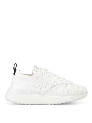 Tod'S: trainers - White drilled leather sneakers