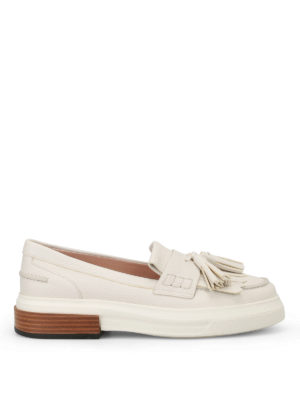 Tod'S: trainers - White sporty loafers with tassels