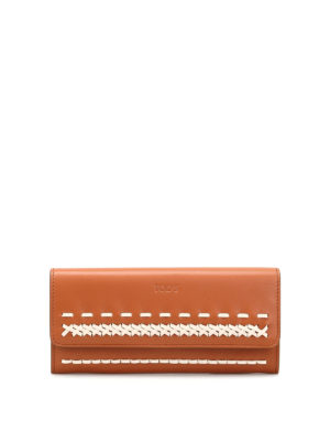 Tod'S: wallets & purses - Braided detail flap wallet