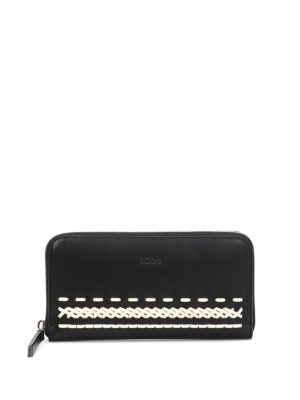 Tod'S: wallets & purses - Braided detailed leather wallet
