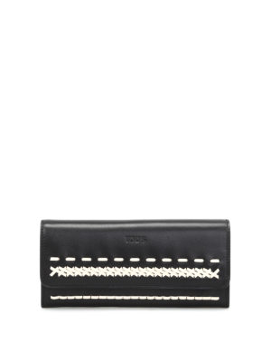 Tod'S: wallets & purses - Braided detailed zip-around wallet