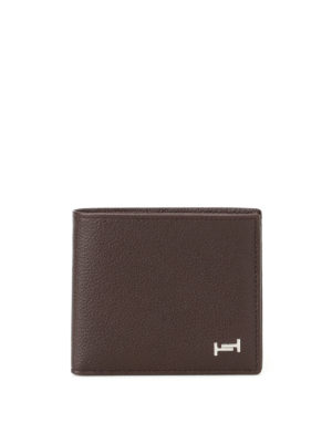 Tod'S: wallets & purses - Double T brown leather wallet