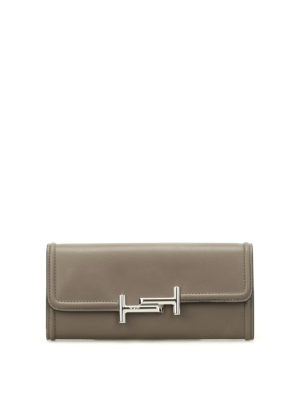 Tod'S: wallets & purses - Double T grey leather wallet
