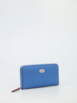 Tod'S: wallets & purses online - Contrasting piping leather wallet