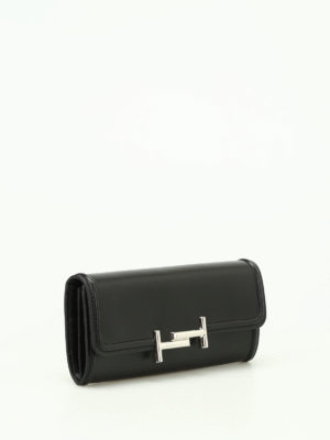 Tod'S: wallets & purses online - Double T black leather wallet