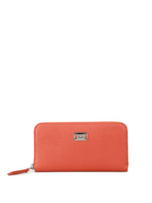 Tod'S: wallets & purses - Orange leather continental wallet