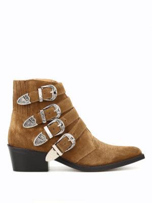 Toga: tronchetti - Stivaletti texani in camoscio kaki