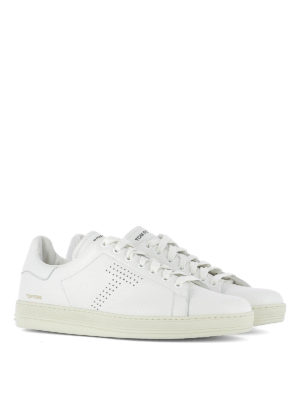 Tom Ford: trainers online - Perforated logo leather sneakers