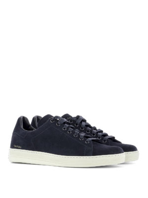 Tom Ford: trainers online - Perforated logo suede sneakers