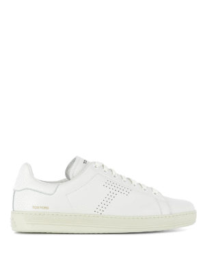 Tom Ford: trainers - Perforated logo leather sneakers