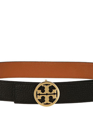 Tory Burch: belts online - Reversible leather logo belt