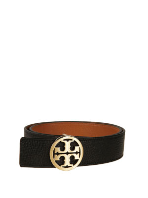 Tory Burch: belts - Reversible leather logo belt