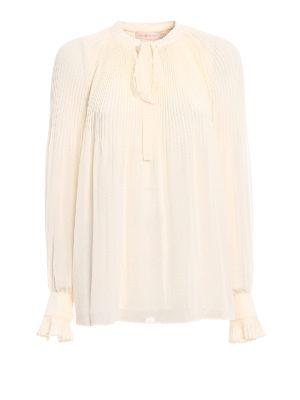 Tory Burch: blouses - Meryl ivory pleated chiffon blouse