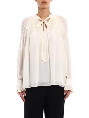 Tory Burch: blouses online - Meryl ivory pleated chiffon blouse
