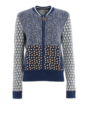 Tory Burch: bombers - Leah knitted cotton bomber jacket