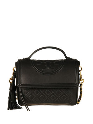 Tory Burch: bowling bags - Fleming black leather satchel