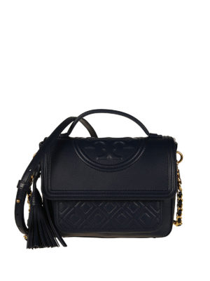 Tory Burch: bowling bags - Fleming navy blue leather satchel