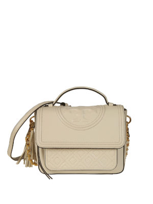 Tory Burch: bowling bags - Fleming white leather satchel