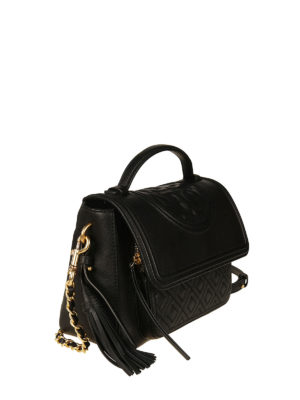 Tory Burch: bowling bags online - Fleming black leather satchel